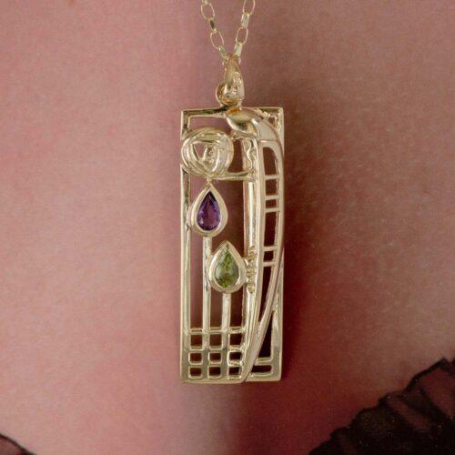 "Cairn 310GAP 9ct Gold Charles Rennie Mackintosh Pendant ""Lover"" Amethyst & Peridot. 4"