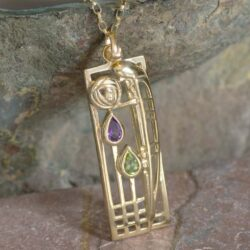 "Cairn 310GAP 9ct Gold Charles Rennie Mackintosh Pendant ""Lover"" Amethyst & Peridot. 2"