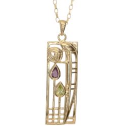 "Cairn 310GAP 9ct Gold Cahrles Rennie Mackintosh Pendant ""Lover"" Amethyst & Peridot. British Made."
