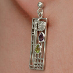 "Cairn 311 Silver Rennie Mackintosh Earrings - ""Lover"" Tarnish Resistant. Peridot & Amethyst. British Made. Rennie Mackintosh Jewellery."