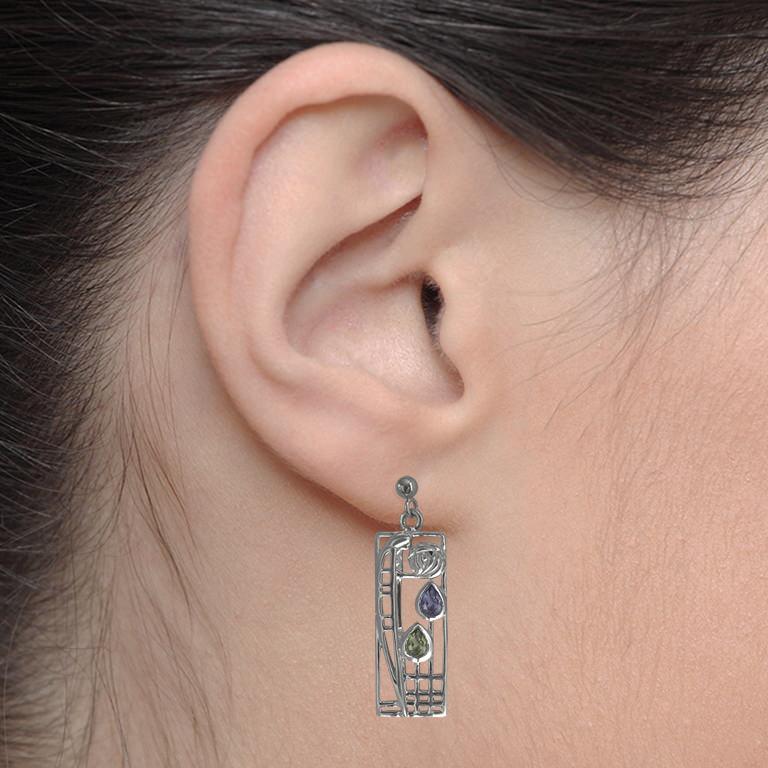 "Charles Rennie Mackintosh Earrings ""Lover"" Peridot & Amethyst. Sterling Silver. Tarnish Resistant. Cairn 311"