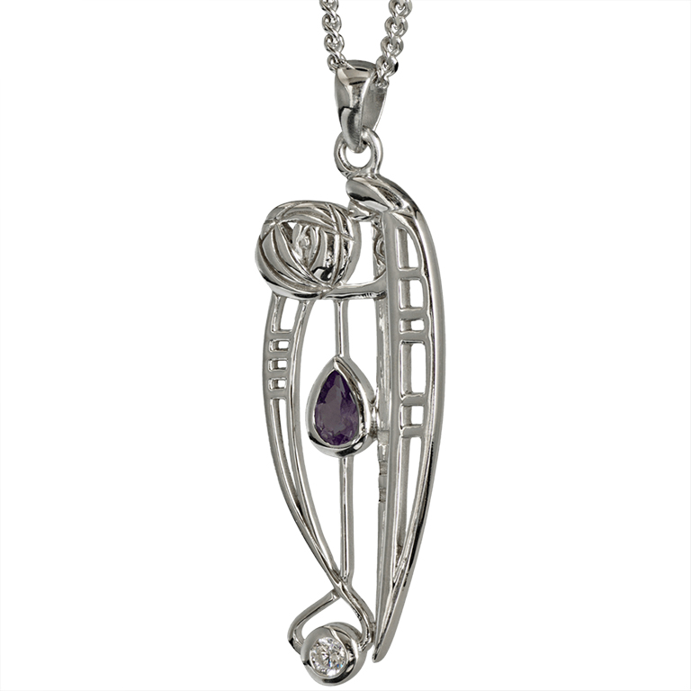 "Charles Rennie Mackintosh Necklace ""Catherine"" Set With Amethyst & Cz. Sterling Silver. Tarnish Resistant. Cairn 320"