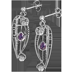 Charles Rennie Mackintosh earrings Catherine. Sterling silver. Amethysts & cubic zirconias. Cairn CG 321