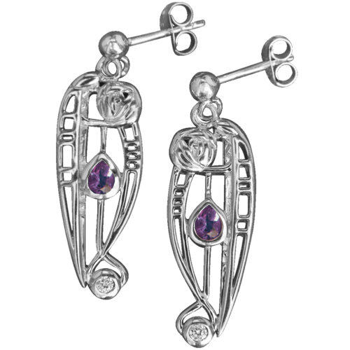 "Amethysts & cubic zirconias. Silver earrings ""Catherine"". Charles Rennie Mackintosh. Cairn 321"
