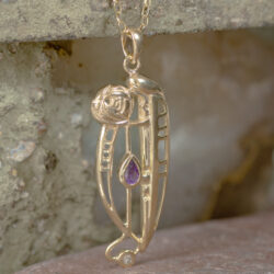 "Cairn 326GD 9ct Gold Charles Rennie Mackintosh Pendant ""Catherine"" Set With Amethyst & Diamond 5"