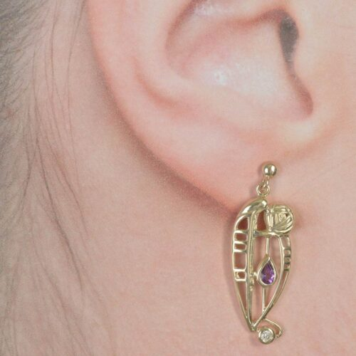 "Cairn 328GD 9ct Gold Charles Rennie Mackintosh Earrings ""Catherine"" Amethyst & Diamond. 2"