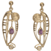 "Cairn 328GD 9ct Gold Charles Rennie Mackintosh Earrings ""Catherine"" Amethyst & Diamond. British Made."