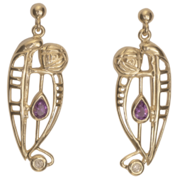 "Cairn 328GD 9ct Gold Charles Rennie Mackintosh Earrings ""Lover"" Amethyst & Diamond. British Made."