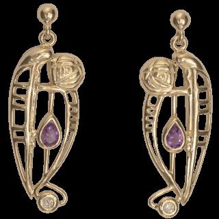 "Cairn 328GD 9ct Gold Charles Rennie Mackintosh Earrings ""Catherine"" Amethyst & Diamond. British Made."