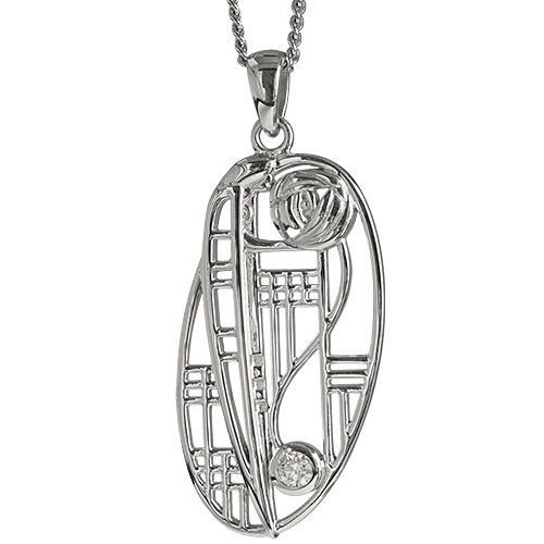 Diamond set silver necklace. Charles Rennie Mackintosh. Cairn pendant 334 Balmoral