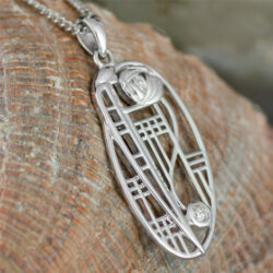 "Cairn 334 Silver Rennie Mackintosh Pendant - ""Balmoral"". Diamond. Tarnish Resistant. British Made. Rennie Mackintosh Jewellery."