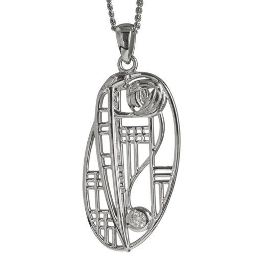 "Charles Rennie Mackintosh Necklace ""Balmoral"". Diamond. Sterling Silver. Tarnish Resistant. Cairn 334"