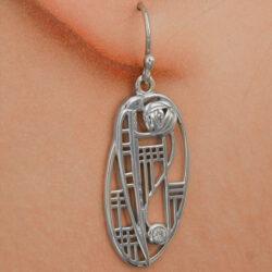 "Cairn 335 Silver Rennie Mackintosh Earrings - ""Balmoral"". Diamond. Tarnish Resistant. British Made. Rennie Mackintosh Jewellery."