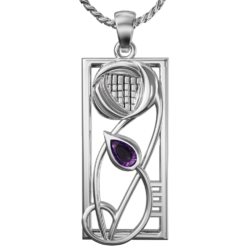 "Amethyst set ""Concert"" stainless steel pendant. Charles Rennie Mackintosh. Cairn necklace 336LAM"