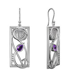 Charles Rennie Mackintosh earrings with amethysts Concert. Stainless steel. Cairn CG 337LAM