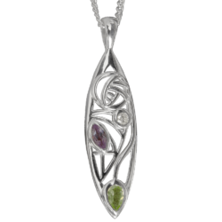 Diamond, amethyst & peridot silver necklace. Charles Rennie Mackintosh. Cairn pendant Cairn 340