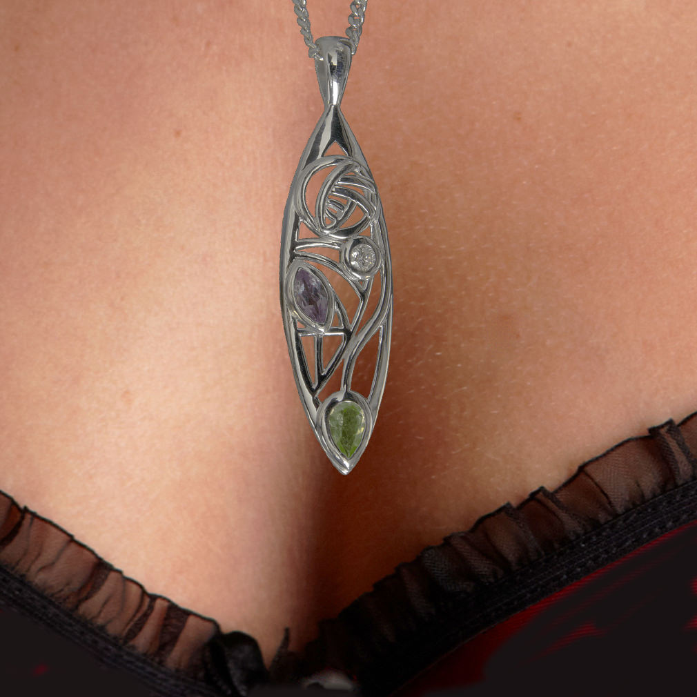 "Silver Charles Rennie Mackintosh Necklace Peridot, Amethyst & Diamond ""Sauchie"" 340 Cairn"