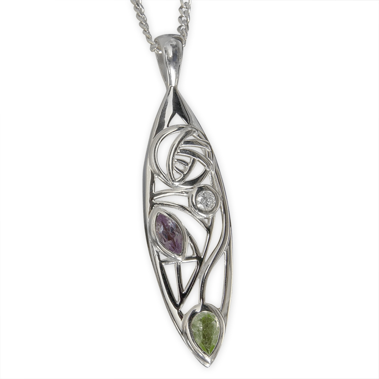 "Charles Rennie Mackintosh Necklace ""Sauchie"" Peridot, Amethyst & Diamond. Sterling Silver. Tarnish Resistant. Cairn 340"