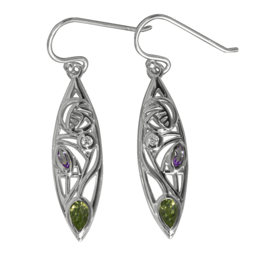 "Charles Rennie Mackintosh Earrings ""Sauchie"" Peridot, Amethyst & Diamond. Sterling Silver. Tarnish Resistant. British Made. Cairn 341"