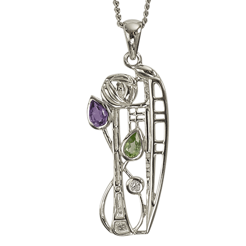 Diamond, amethyst & peridot silver necklace. Charles Rennie Mackintosh. Cairn pendant 346 Nairn