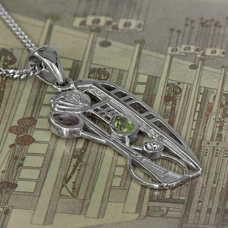 "Charles Rennie Mackintosh Necklace ""Nairn"" Amethyst, Peridot & Diamond. Sterling Silver. Tarnish Resistant. Cairn 346"