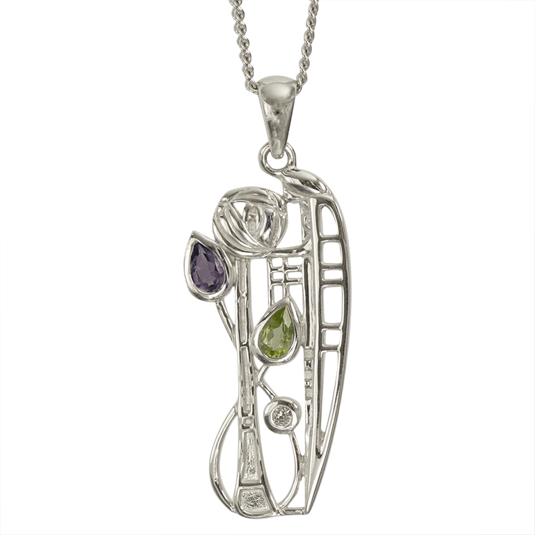 "Charles Rennie Mackintosh Necklace ""Nairn"" Amethyst, Peridot & Diamond. Sterling Silver. Tarnish Resistant. Cairn 346"