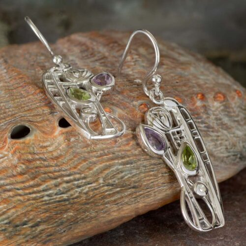 "Cairn 347 Silver Rennie Mackintosh Earrings ""Nairn"" Peridot, Amethyst & Diamond. Tarnish Resistant. British Made. Rennie Mackintosh Jewellery."