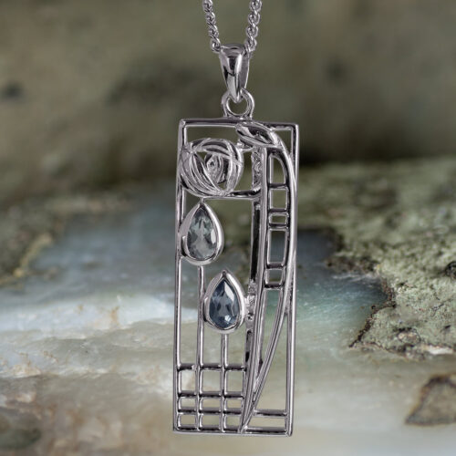 "Sterling Silver Charles Rennie Mackintosh Pendant ""Lover"" Aquamarine & Sapphire. Tarnish Resistant. Cairn 355"