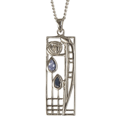 Aquamarine & sapphire silver necklace. Charles Rennie Mackintosh. Cairn pendant 355 Lover