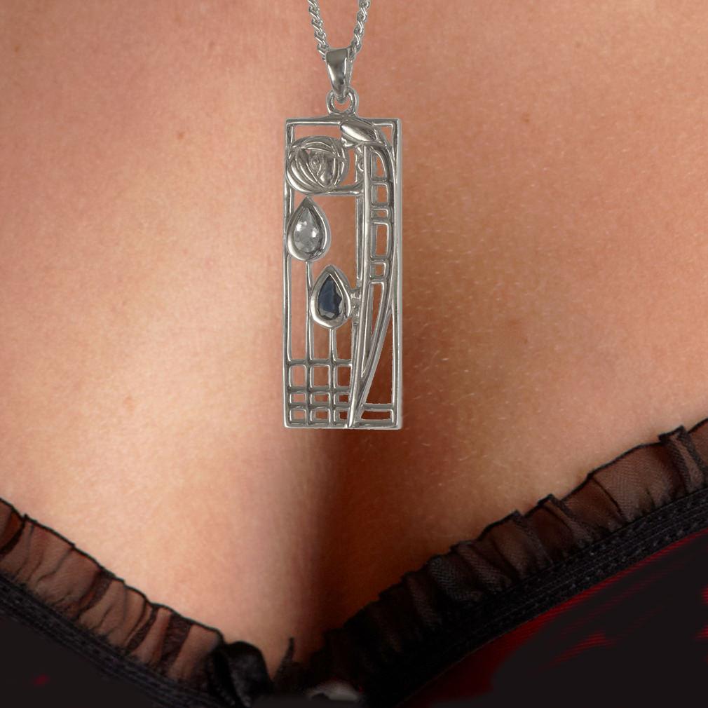 """Silver Charles Rennie Mackintosh Necklace Aquamarine & Sapphire """"Lover"""" 355 Cairn"""