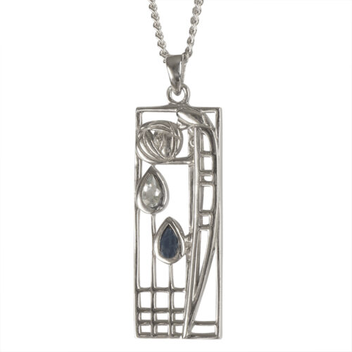 "Charles Rennie Mackintosh Necklace ""Lover"" Aquamarine & Sapphire. Sterling Silver. Tarnish Resistant. Cairn 355"