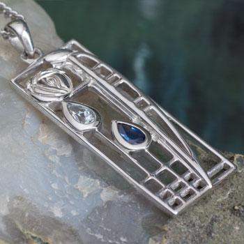 "Cairn 355 Silver Rennie Mackintosh Pendant ""Lover"" Aquamarine & SapphireTarnish Resistant. British Made. Rennie Mackintosh Jewellery."
