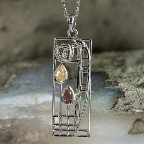 "Sterling Silver Charles Rennie Mackintosh Pendant ""Lover"" Garnet & Citrine. Tarnish Resistant. Cairn 366"