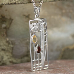 "Cairn 366 Silver Rennie Mackintosh Pendant ""Lover"" Garnet & Citrine 5"