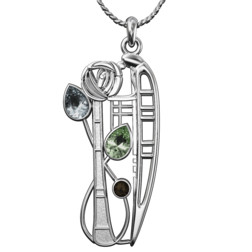 "Aquamarine, Peridot & smoky quartz (Cairngorm) silver necklace ""Nairn"". Charles Rennie Mackintosh. Cairn 375 Nairn"