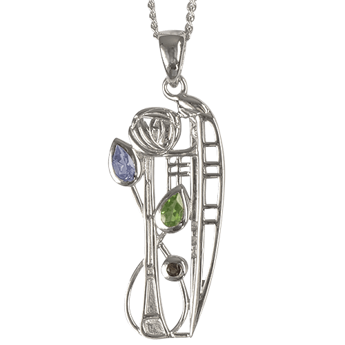 "Aquamarine, Peridot & smoky quartz (Cairngorm) silver necklace ""Nairn"". Charles Rennie Mackintosh. Cairn 375 Nairn"