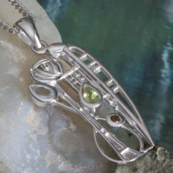 "Cairn 375 Silver Rennie Mackintosh Pendant ""Nairn"" Aquamarine, Peridot & Smoky Quartz (Cairngorm). Tarnish Resistant. British Made. Rennie Mackintosh Jewellery."