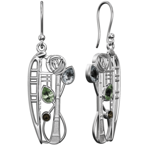 "Charles Rennie Mackintosh Earrings ""Nairn"" Aquamarine. Peridot & Smoky Quartz (Cairngorm). Sterling Silver. Tarnish Resistant. British Made. Cairn 376"