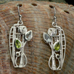 "Cairn 376 Silver Rennie Mackintosh Earrings ""Nairn"" Aquamarine. Peridot & Smoky Quartz (Cairngorm). Tarnish Resistant. British Made. Rennie Mackintosh Jewellery."