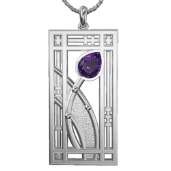 """Amethyst set """"Hall"""" stainless steel pendant. Charles Rennie Mackintosh. Cairn necklace 390LAM"""