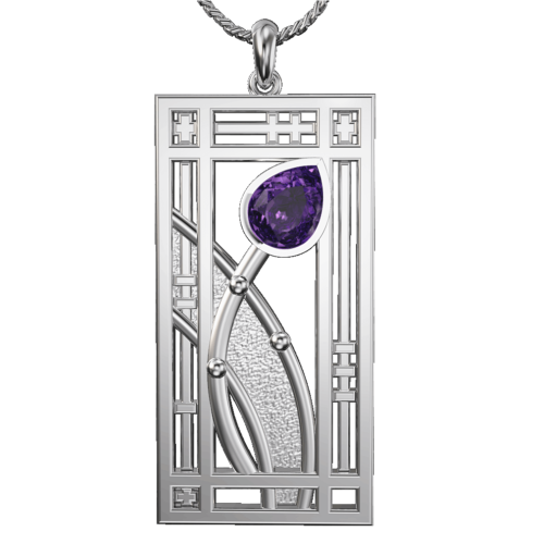 "Amethyst set ""Hall"" stainless steel pendant. Charles Rennie Mackintosh. Cairn necklace 390LAM"