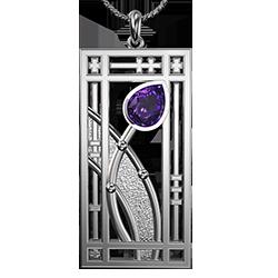 "Mackintosh pendant ""Hall"" Amethyst. Stainless steel. 390LAM"