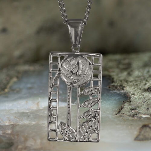 "Sterling Silver Charles Rennie Mackintosh Pendant ""de luxe"". Tarnish Resistant. Cairn 401"