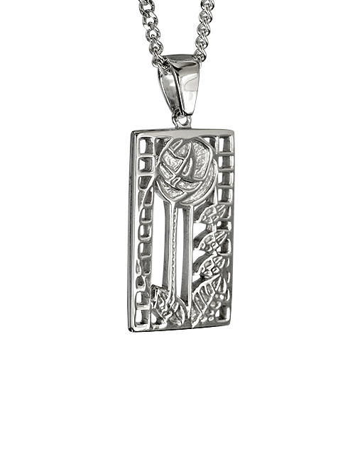 """De Luxe"" silver necklace. Charles Rennie Mackintosh. Cairn pendant 401"