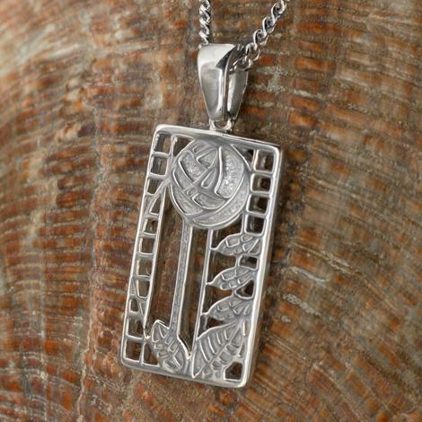 """Cairn 401 Silver Rennie Mackintosh Pendant - """"de luxe"""". Tarnish Resistant. British Made. Rennie Mackintosh Jewellery."""