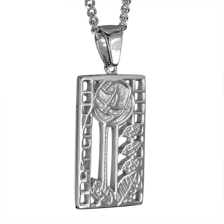 """Charles Rennie Mackintosh Necklace """"De Luxe"""". Sterling Silver. Tarnish Resistant. Cairn 401"""