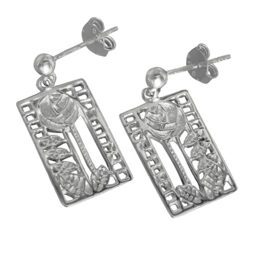"""Charles Rennie Mackintosh Earrings """"De Luxe"""". Sterling Silver. Tarnish Resistant. Cairn 405"""