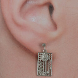 "Cairn 405 Silver Rennie Mackintosh Earrings - ""De Luxe"". Tarnish Resistant. British Made. Rennie Mackintosh Jewellery."