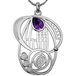 """Charles Rennie Mackintosh pendant """"Aspect"""" Mackintosh pendant with amethyst & cubic zirconias. Stainless steel. 430LAC"""