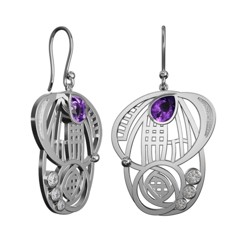 "Amethyst & cz set ""Aspect"" stainless steel earrings. Charles Rennie Mackintosh. Cairn 431LAC"